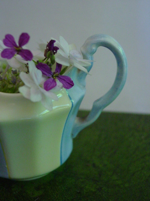 Vintage Creamer Fenton Paladin Pale Blue and Yellow  Hand Painted Staffordshire Cottage Cure Small Pitcher