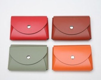 Business card case - Venezia-style -  Set of 4 --  Eco-Chic Leather - Your choice of colors
