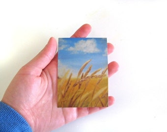 ACEO Painting Print -- ACEO Landscape -- Landscape Print -- Wheat Field -- Fall Art -- Fall Painting -- Autumn Painting Print -- Field Art