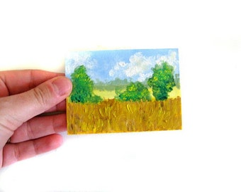 Original ACEO Painting - Country Field Summer Mini Art