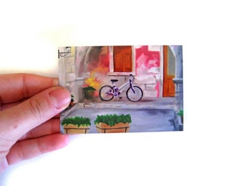 Bicycle Art Print - ACEO Art Print - French Art - Bicycle Painting - Mini Print - Paris Art - Pink Decor - Bicycle Decor - Bicycle - Bike