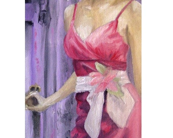Fashion Art Vintage Dress Painting Print Pink Chic Art Original Art Print Fine Art Print