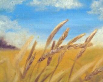 Wheat Field Print -- Rustic Art -- Wheat Field -- Wheat Field Painting -- Fine Art Print -- Painting Print -- Fall Art -- Country Art