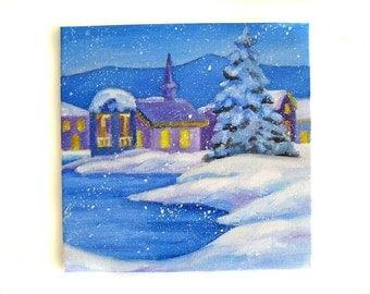 Winter Painting - Winter Art - Winter Decor - Christmas Painting - Christmas Art - Christmas Decor - Winter Landscape - Original Art