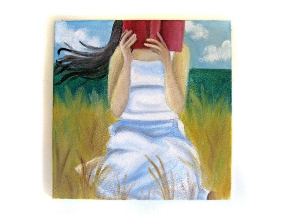 Summer Painting Reading Art Book Country Field Original Artwork