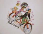 Mini Hand Painted Tandem Bicycle Decorative Tea Cup Plate