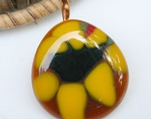Sunflower Fused Glass Pendant, Sunflower Delight, Yellow and Black Flower Glass Pendant, Rustic Pendant,