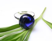 Blue Dichroic Fused Glass Ring, Midnight Blue Glass Ring, Sterling Silver Plated Adjustable Ring