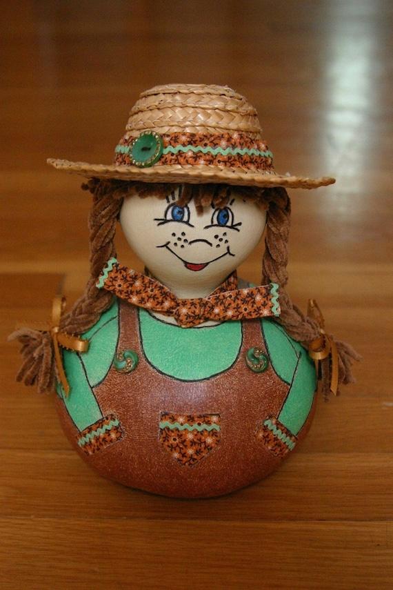 Cowgirl Gourd Doll, Country Lovin Sunshine Susie, OOAK