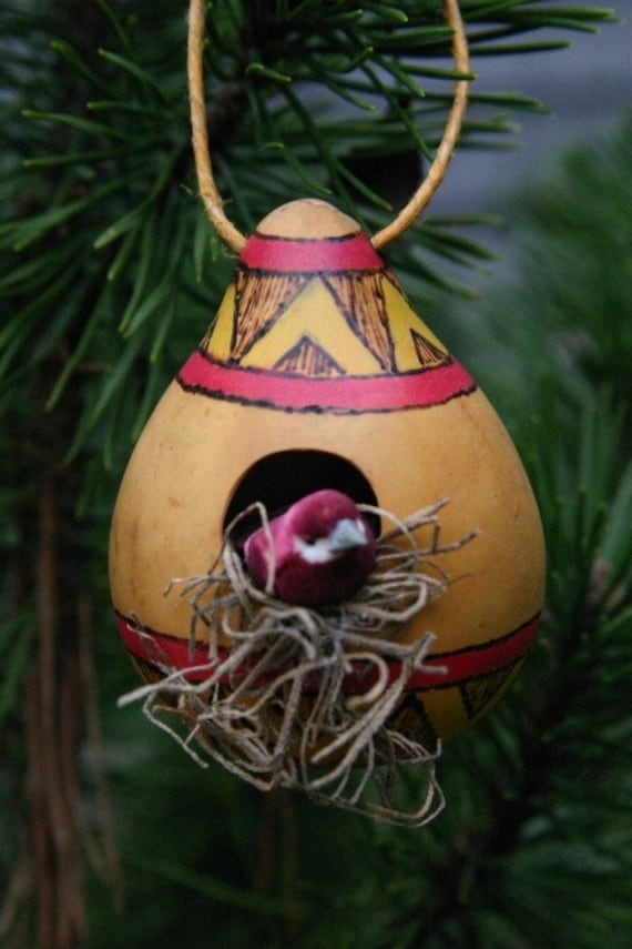 Rustic Gourd Ornament, Natural Ornament, Winter Decoration, Southwest Style Birdhouse, Red Violet and Gold Bird House Ornament