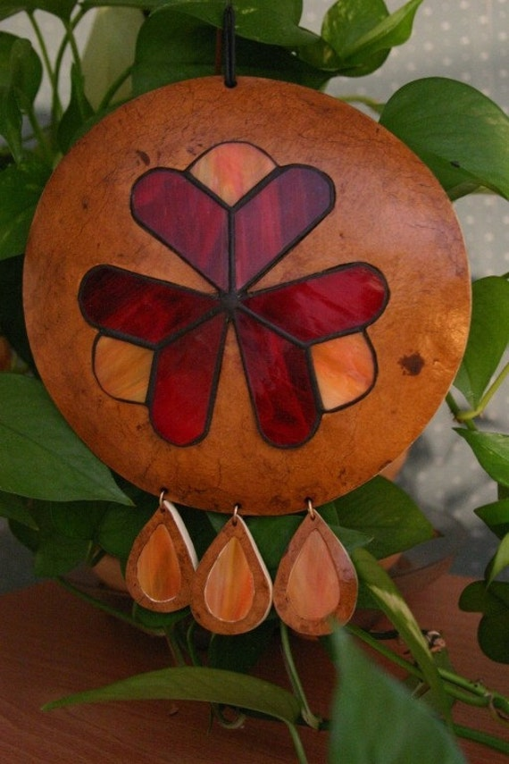 Gourd and Glass Sun Catcher Sculpture, Window Sun Catcher, Red and Orange, OOAK