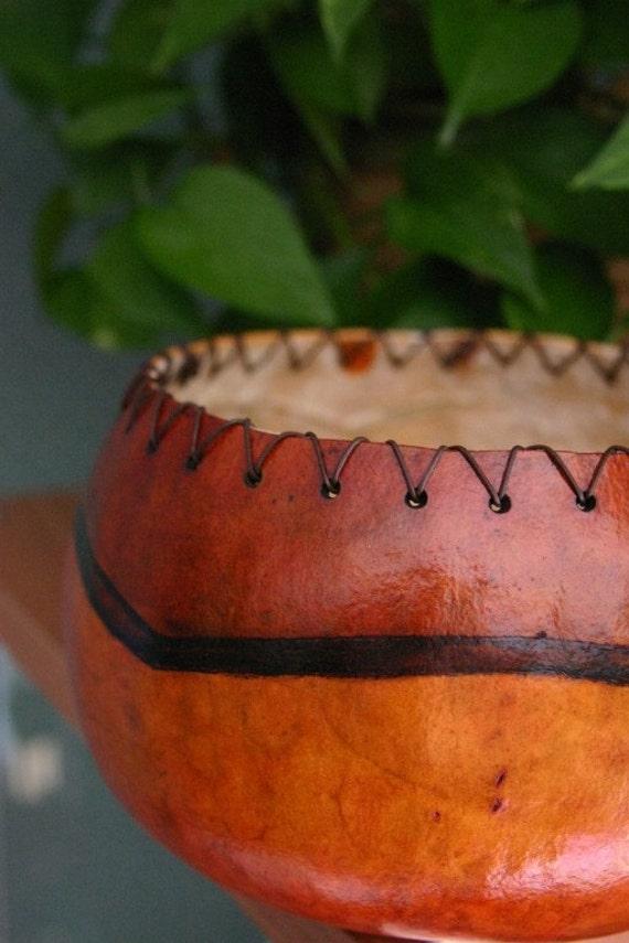 Burnt Orange Gourd Bowl, Rustic Gourd Bowl, Wild Turkey Tail Bowl with Leather Trim, Brick Red Bowl