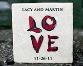 Wedding Favor Coasters Love Set of 4