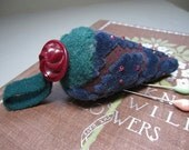 Antique Style Strawberry Pincushion in Vintage Blue Velvet and Button