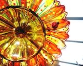 Garden Decor Glass Plate Flower in Yellow