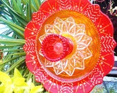 Fall Garden Decor Glass Plate Flower For Your Garden in Orange and Yellow