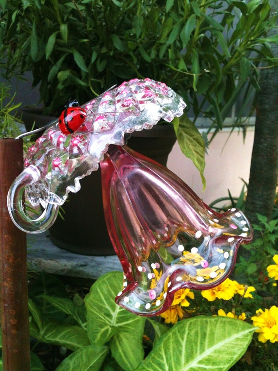 Items similar to garden decor glass plate flower for your for Garden art from old dishes