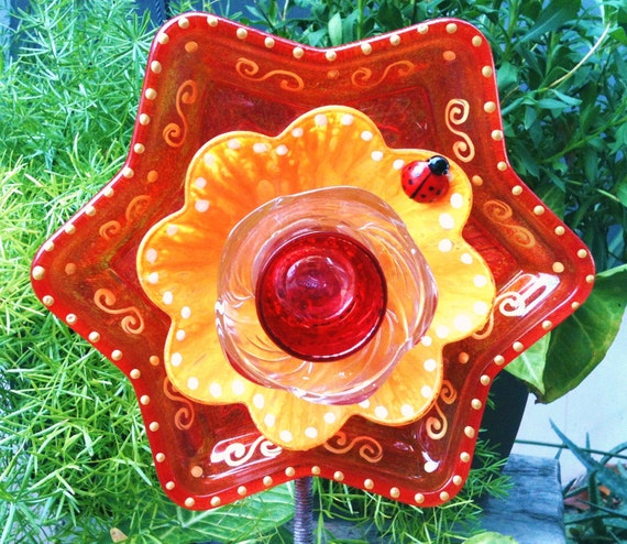 Items Similar To Garden Decor Glass Plate Flower For Your