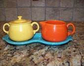 Vintage Fiesta Turqouise Figure 8 Tray with Sugar and Creamer (Rare)