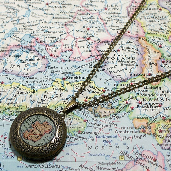 CUSTOM Map Locket. You Select Location. Anywhere In The World.