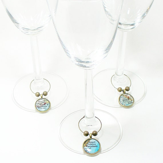 Set of Six. CUSTOM Map Wine Glass Charms. You Select Locations. Anywhere In The World. Travel. Wedding. Personalized.