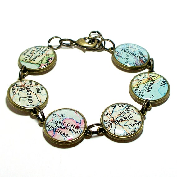 Custom Map Bracelet. You Select Six Locations. Anywhere In The World. Map Jewelry. Travel. Personalized.