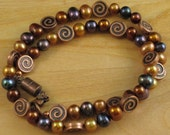 Copper annd freshwater pearl necklace.