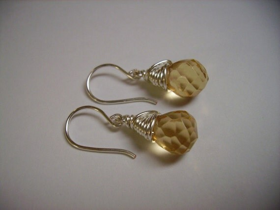 Champagne and Silver Wire Wrapped Earrings
