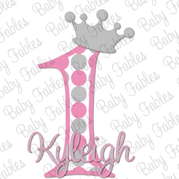 Birthday Girl IRON ON transfer Crown Pink and Silver Birthday Girl 1st Birthday first Birthday Birthday Iron On Heat Transfer Princess Crown