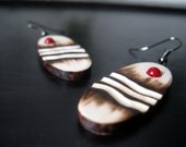 Wooden Earrings - Red Sunset,Woodburned Earrings, Earthy, Organic, Outdoorsy, Red