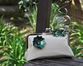 Clutch Silk Purse with Vintage Brooch and Earrings - Ivory, Chocolate, Green, Gold