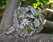 Vintage Brooch Bouquet in silver and soft gold with lots of rhinestones and a dragonfly accent, bridal bouquet, wedding bouquet
