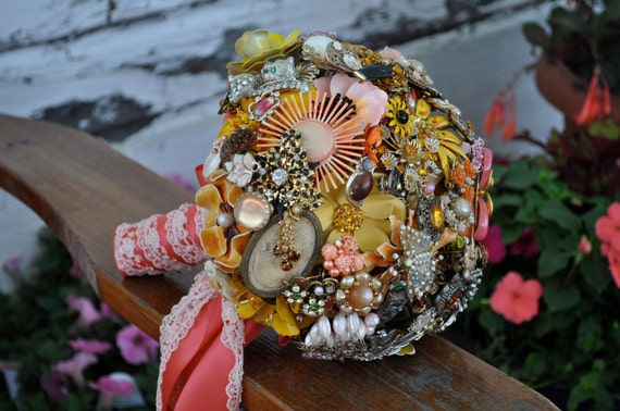 Custom listing ONLY for meowmeowvintageT - wedding brooch bouquet, mustard yellow and coral
