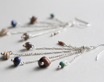 Natural Medley Earrings --- sterling silver, heshi shell, turquoise, oyster, quartz, lapis lazuli and abalone // 30% OFF SALE