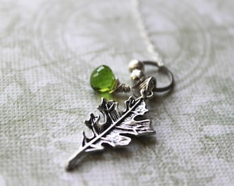 Oak Grove Necklace --- a leaf charm and faceted green quartz necklace