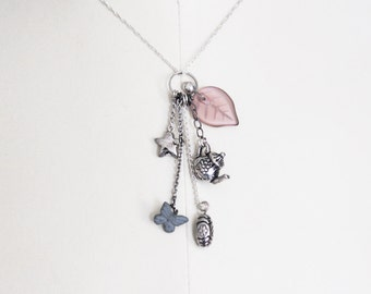 Tea Charms Necklace // teacup, kettle, butterfly, star, silver and purple // CLEARANCE SALE