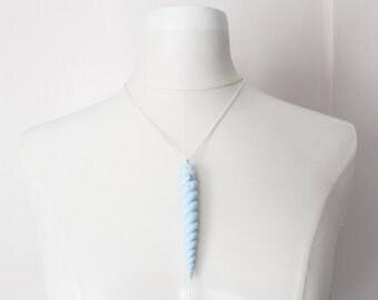 Blue Mist Unicorn Horn Necklace // CLEARANCE SALE // baby blue unicorn horn, silver, floral, fantasy
