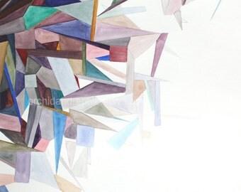 Crystalline Fragments --- 8 x 10 fine art print of an original gouache painting