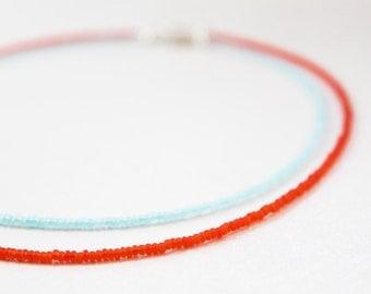 Sunset Necklace Set --- bright orange and cornflower blue seed beads