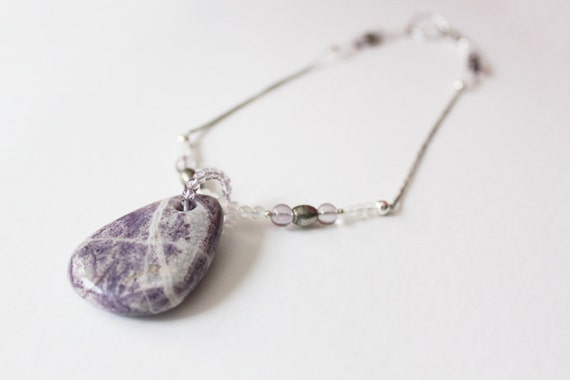 Enchanting Charolite Necklace with Rainbow Moonstone and Amethyst // CLEARANCE SALE