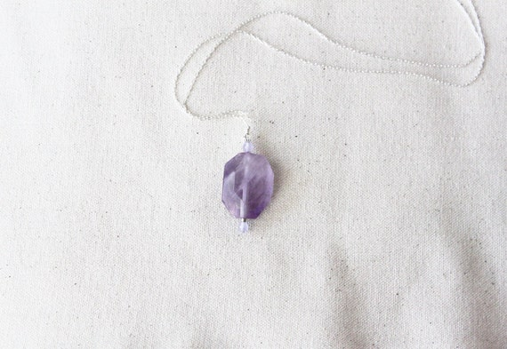 Violet  Meadow Necklace --- faceted amethyst and purple agate on a long chain