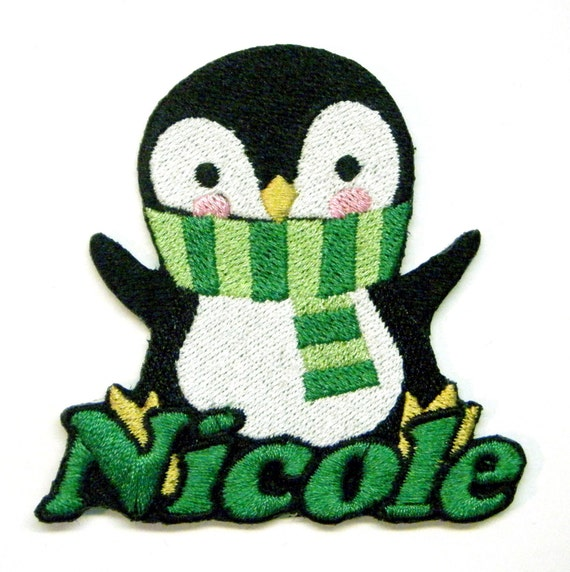 Iron on Patch Penguin Name Personalized Free