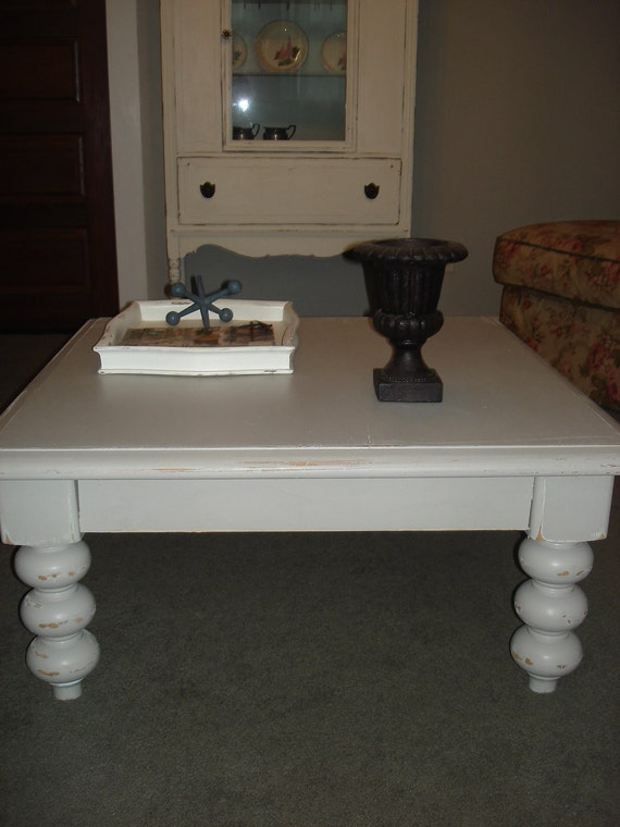 Painted Distressed Grey Coffee Table