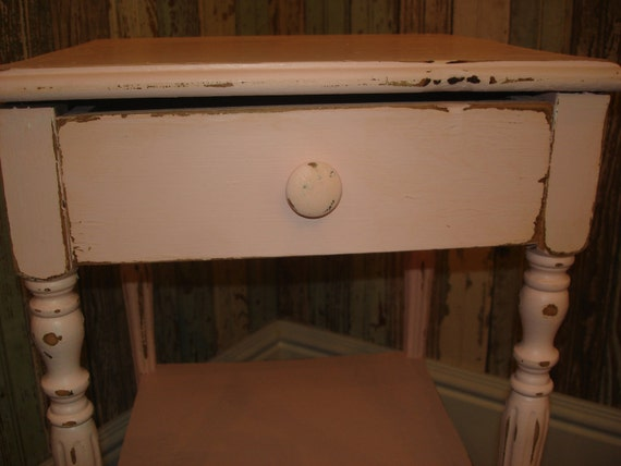 RESERVED FOR ANA/ Vintage Distressed Pink Side Table/ Nightstand