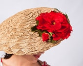 Summer SALE // Vintage 1940s 1950s Diva Clamshell Raffia Hat and Purse Set with Oversized Roses // Large Picture Sun Hat Big Brim