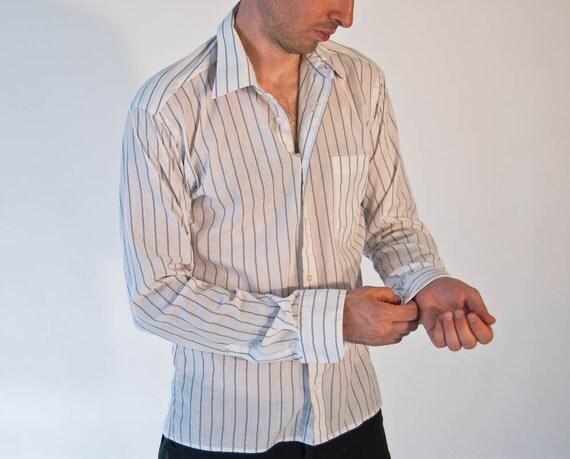 vintage 1970s christian dior mens white pinstripe dress shirt