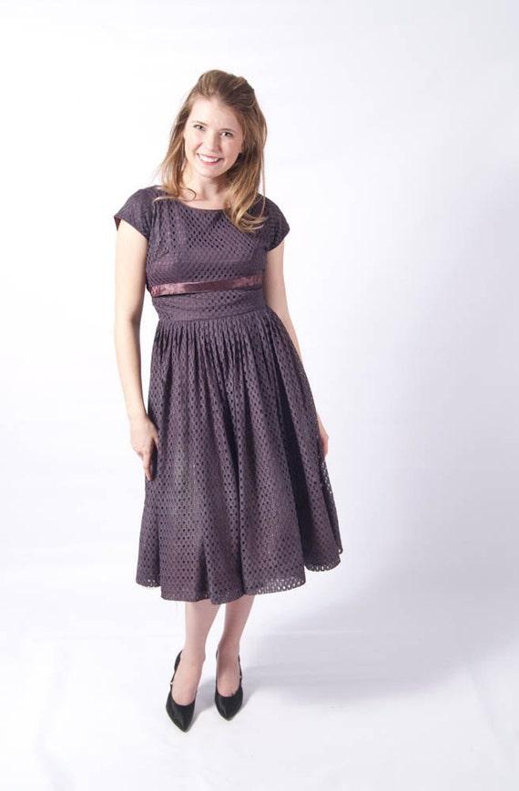 Reserved for misslealynn // 1950s Lavender Eyelet Dress Perfect for Easter // Bombshell Full Skirt Nipped Waist Boatneck Neckline with Sash