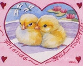 Baby Chick Print Friendship Gift Valentine 8x10 Watercolor Animal Fine Art for Friends by Janet Zeh