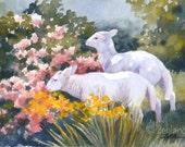 Lamb Print 8x10 Watercolor Baby Animal Wall Art by Janet Zeh