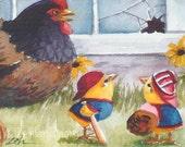 Animal Baseball Print Baby Chicks 8x10 Chicken Art for Kids by Janet Zeh